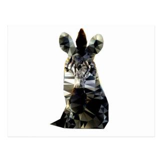 Zebra Head African Animal Low Poly Postcard