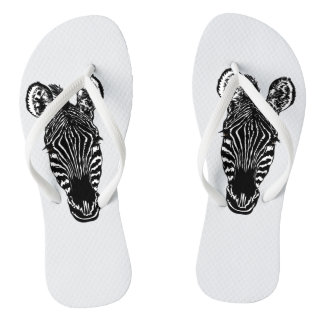 Zebra Head Flip Flops
