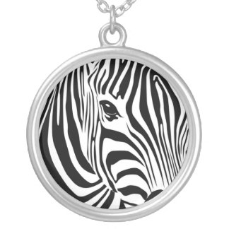 Zebra Head Silver Plated Necklace