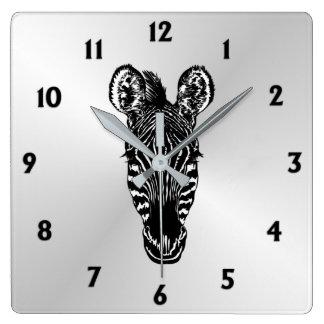 Zebra Head w Twelve Numbers Square Wall Clock