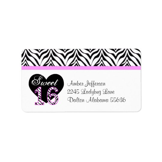 Zebra Heart Sweet 16 Address Labels