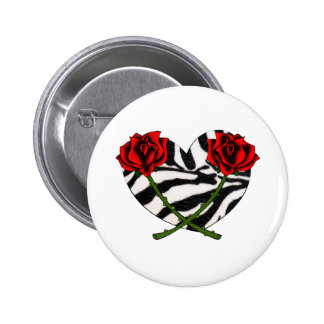 Zebra Hearts and Roses 2 Inch Round Button