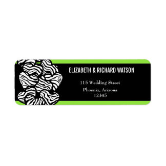Zebra hearts Wedding Address Label