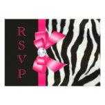 Zebra Hot Pink Bow RSVP