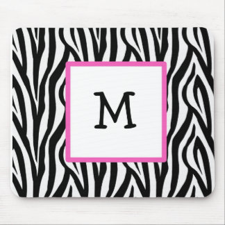 Zebra & Hot Pink monogram mousepad