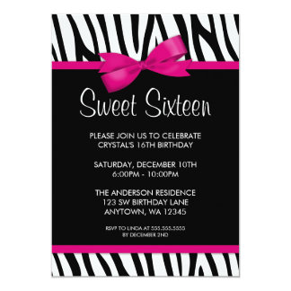 "Zebra Hot Pink Printed Bow Sweet 16 Birthday Party 5"" X 7"" Invitation Card"