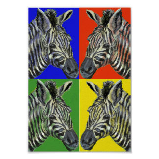 Zebra in four colors Poster