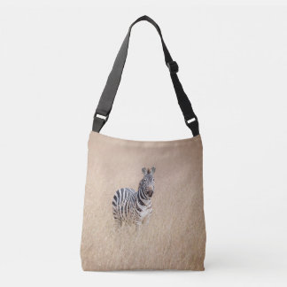 Zebra in high grass crossbody bag