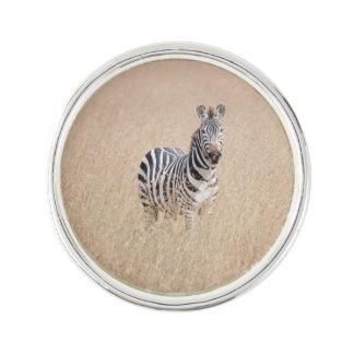 Zebra in high grass lapel pin