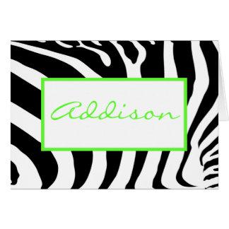 Zebra in Lime Card