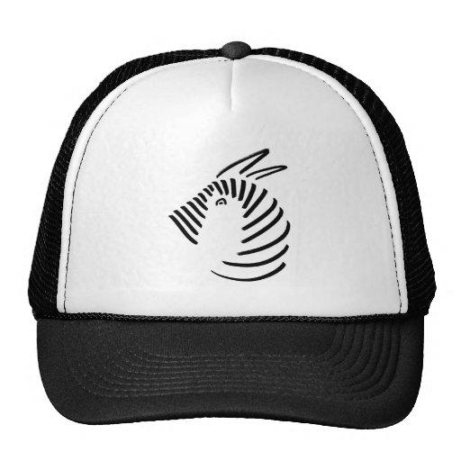Zebra in simple black-on-white design hats