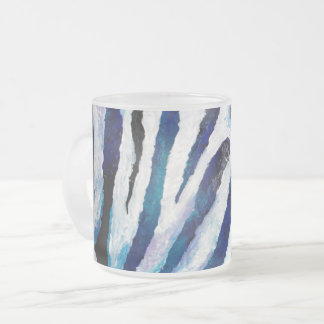 Zebra in Teal and Purple Frosted Glass Coffee Mug