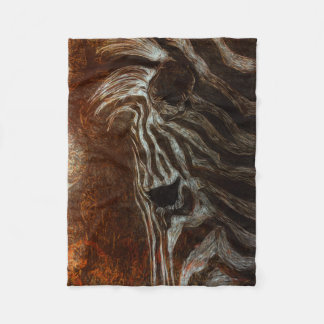 Zebra in White on Brown and Orange Background Fleece Blanket