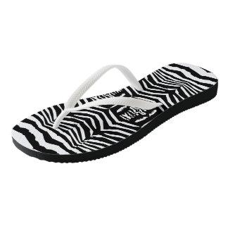 Zebra Inspired Black-White Flip Flops