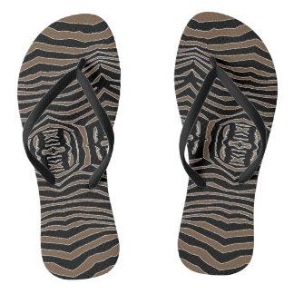 Zebra Inspired Brown-Black Flip Flops