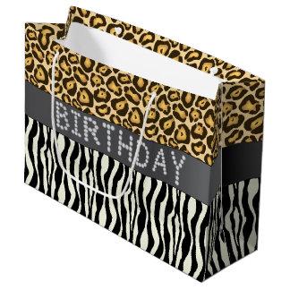 Zebra/Jaguar Diamond Birthday Gift Bag Lg