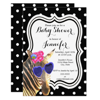 Zebra jungle animal black polka dot baby shower card
