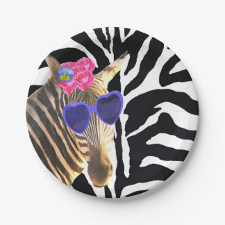 Zebra jungle animal fashion modern girl paper plate