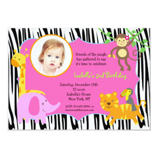 Zebra Jungle Animal Photo Birthday Invitations
