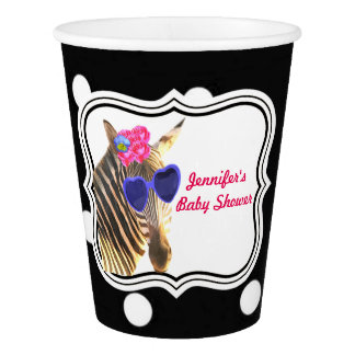 Zebra jungle cute animal black polka dot paper cup