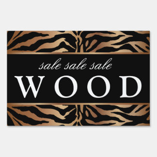 Zebra Lawn Sign Salon Brown Wood