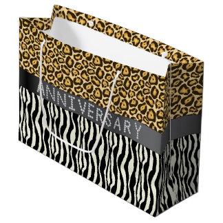 Zebra/Leopard Print Diamond Anniversary LG Large Gift Bag