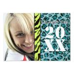 Zebra Leopard Print, Graduation Announcement