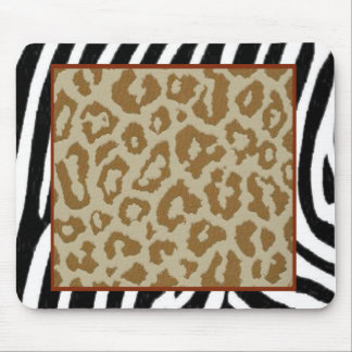 zebra leopard print red mouse pad