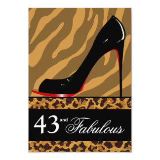 Zebra Leopard Stiletto 43rd Birthday Safari Party Card