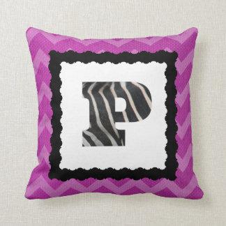 Zebra Letter P, B&W on Hot Pink/White Chevron Throw Pillow