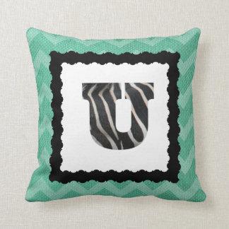 Zebra Letter U, B&W on Aqua/White Chevron Throw Pillow