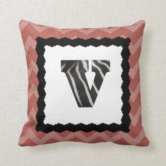 Zebra Letter V, B&W on Salmon/White Chevron Throw Pillow