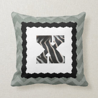 Zebra Letter X, B&W on Slate Blue/White Chevron Throw Pillow