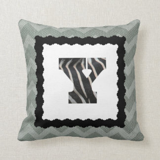 Zebra Letter Y, B&W on Slate Blue/White Chevron Throw Pillow