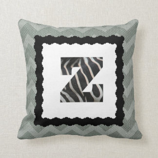 Zebra Letter Z, B&W on Slate Blue/White Chevron Throw Pillow