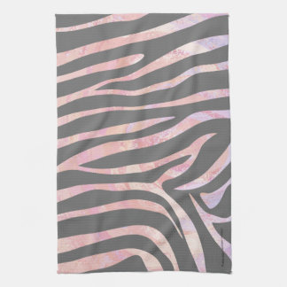Zebra Light Grey and Pink Print Kitchen Towel