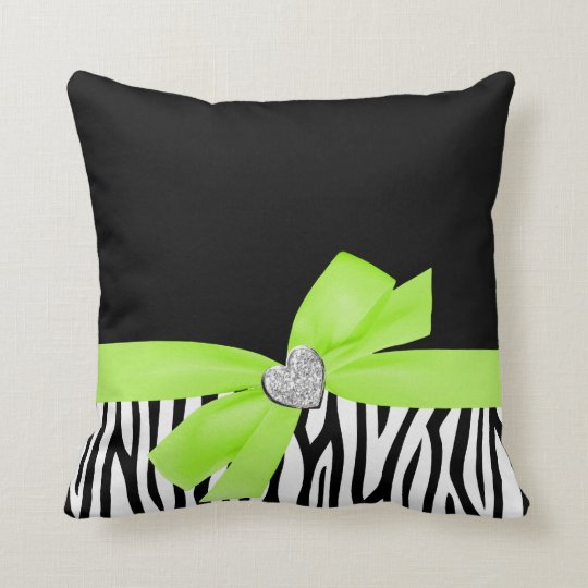 Zebra Lime Green Bow Diamond Heart Throw Pillow