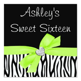 Zebra Lime Green Bow Diamond Sweet 16 Invitations