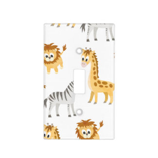 Zebra Lion and Giraffe Cute Baby Animals Light Switch Cover