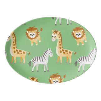 Zebra Lion and Giraffe Cute Baby Animals Porcelain Serving Platter