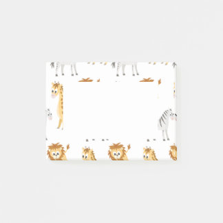Zebra Lion and Giraffe Cute Baby Animals Post-it Notes