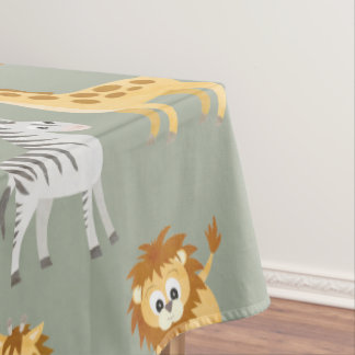 Zebra Lion and Giraffe Cute Baby Animals Tablecloth