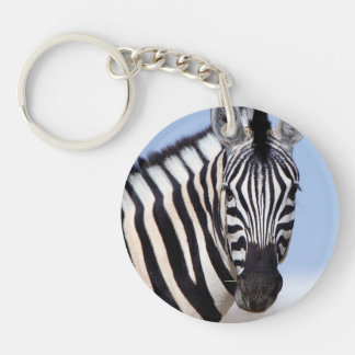 Zebra looking at you Double-Sided round acrylic keychain