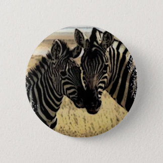 ZEBRA LOVE 2 INCH ROUND BUTTON