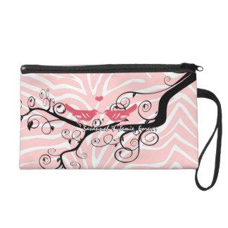 Zebra Love Bird Pink Black Designer Clutch Purse Wristlet Clutches