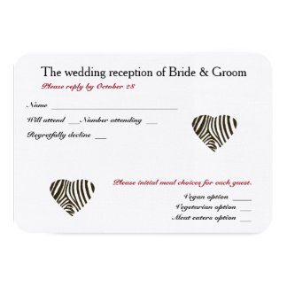 "Zebra Love Wedding Reception and meal choices RSVP 3.5"" X 5"" Invitation Card"