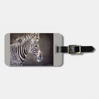 Zebra Luggage Tag with Leather Strap