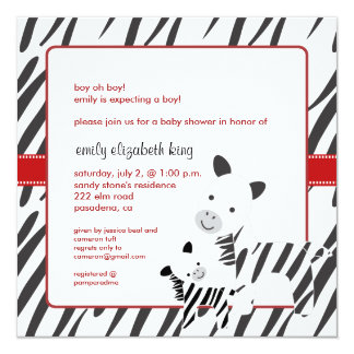 Zebra mom + calf baby shower invitations