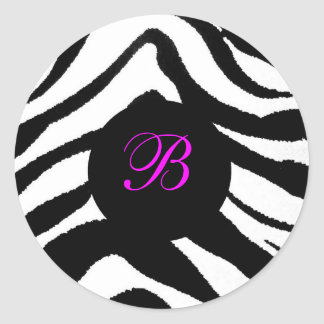 zebra monogram, B Classic Round Sticker