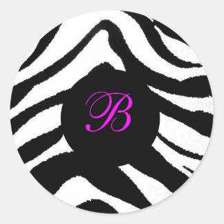 zebra monogram, B Round Sticker